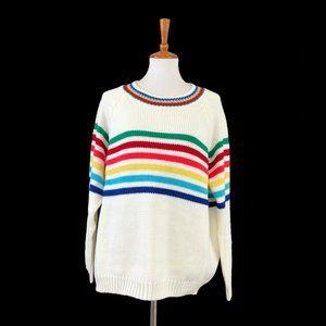 Fantastic Fawn Oversized Rainbow Stripe Sweater
